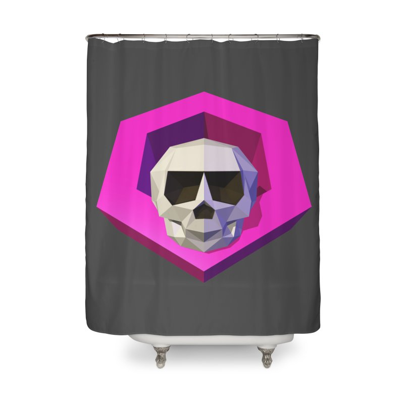 Tiltagon low-poly skull Home Shower Curtain by Kiemura Merchandise