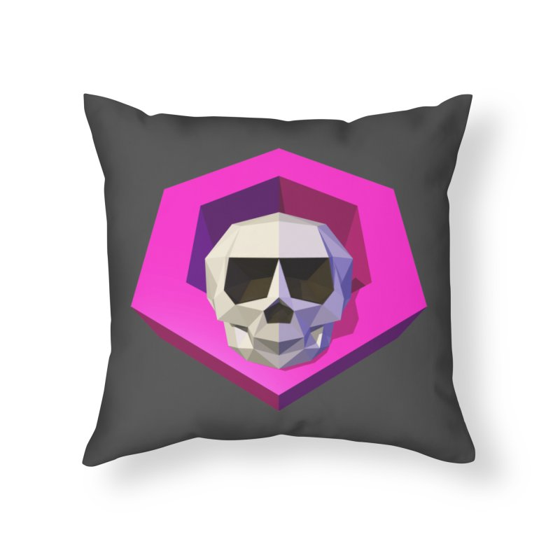 Tiltagon low-poly skull Home Throw Pillow by Kiemura Merchandise