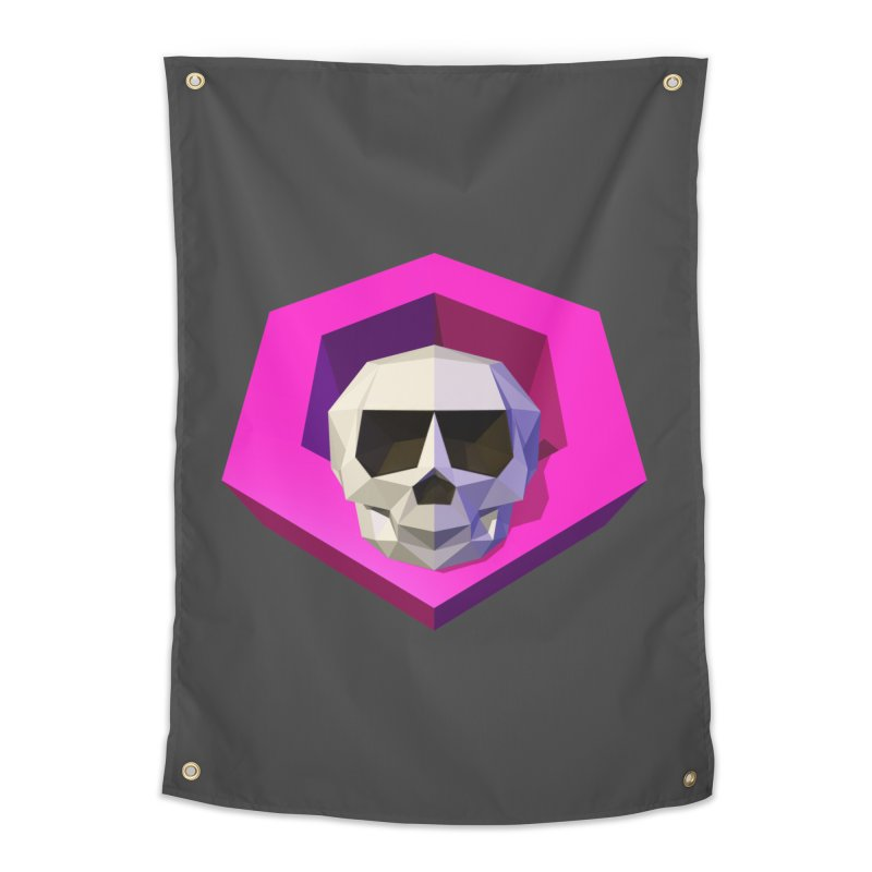 Tiltagon low-poly skull Home Tapestry by Kiemura Merchandise
