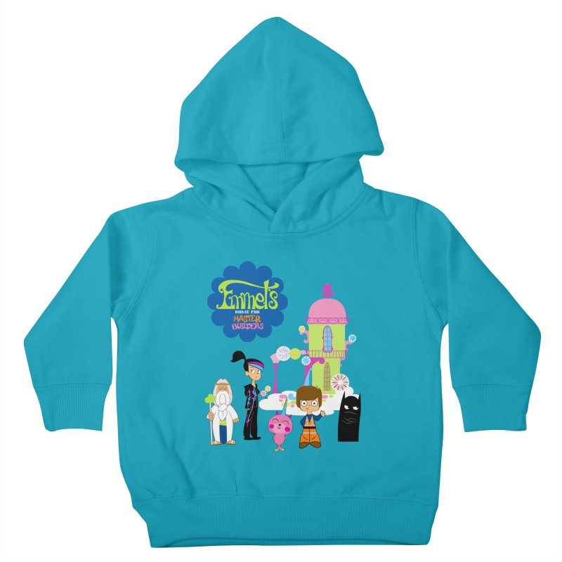 Emmet's Home For Master Builders in Kids Toddler Pullover Hoody Cyan by Tees, prints, and more by Kiki B
