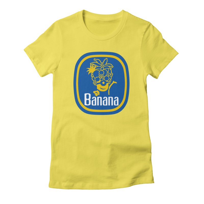 Banana! in Women's Fitted T-Shirt Vibrant Yellow by Tees, prints, and more by Kiki B
