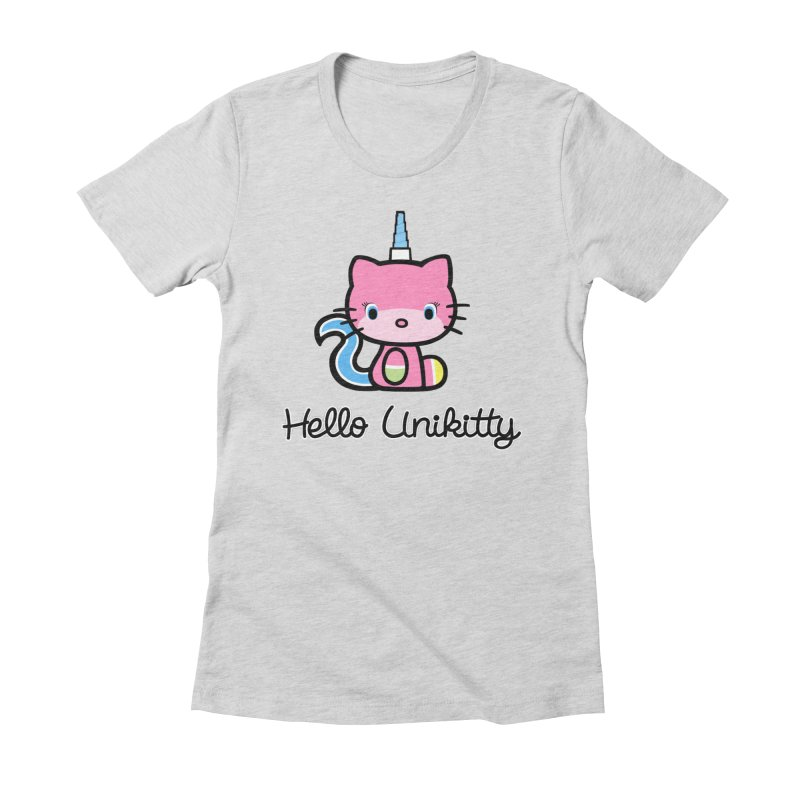 Hello Unikitty in Women's Fitted T-Shirt Heather Grey by Tees, prints, and more by Kiki B