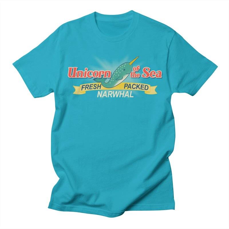 Unicorn of the Sea in Men's Regular T-Shirt Cyan by Tees, prints, and more by Kiki B