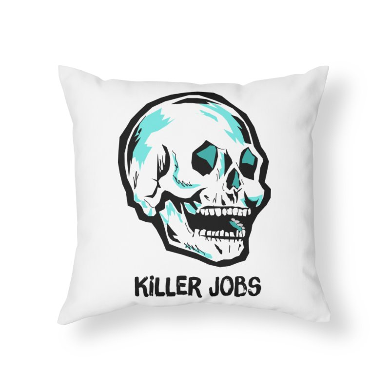 Skull Logo Home Throw Pillow by KILLER JOBS: Serial Killer Podcast
