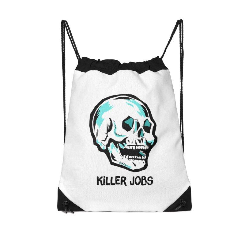 Skull Logo Accessories Drawstring Bag Bag by KILLER JOBS: Serial Killer Podcast