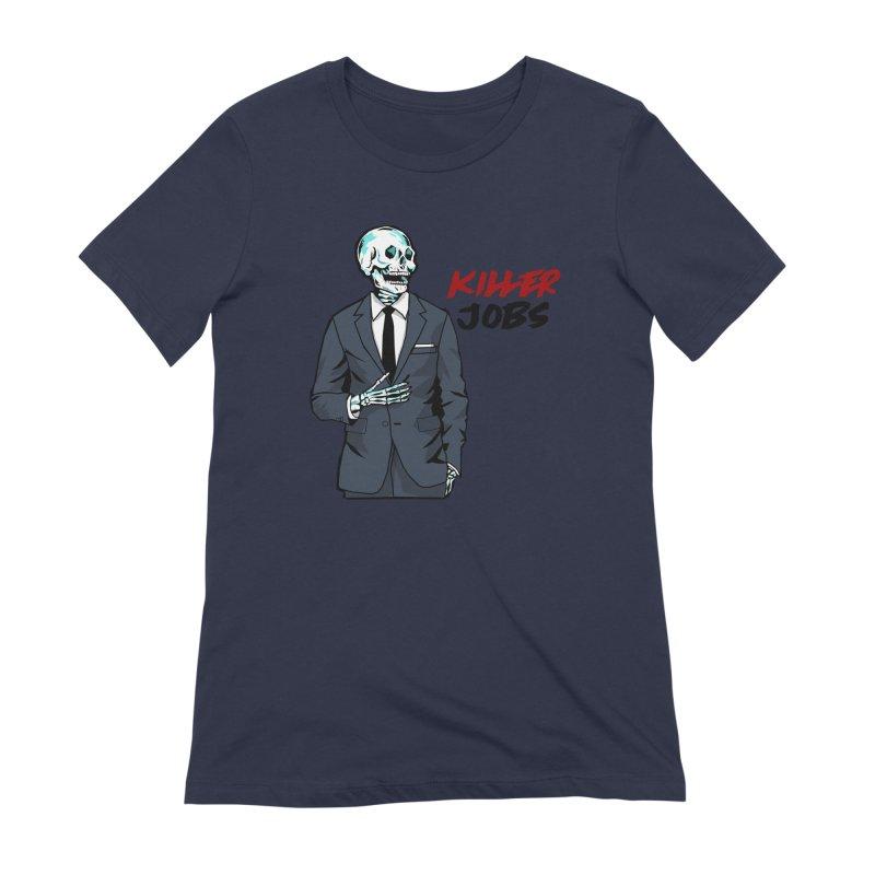 Skeleton Logo T-Shirt Design Women's Extra Soft T-Shirt by KILLER JOBS: Serial Killer Podcast