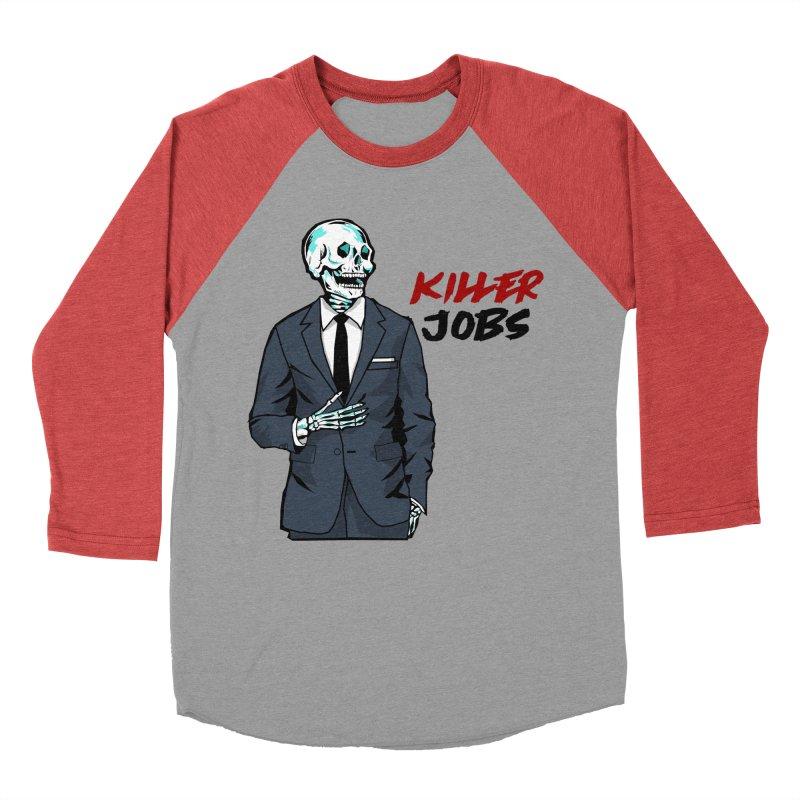 Skeleton Logo T-Shirt Design Men's Baseball Triblend Longsleeve T-Shirt by KILLER JOBS: Serial Killer Podcast