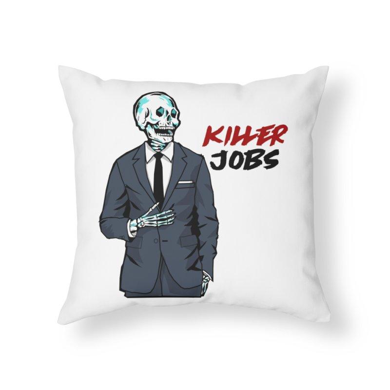 Skeleton Logo Accessory Home Throw Pillow by KILLER JOBS: Serial Killer Podcast