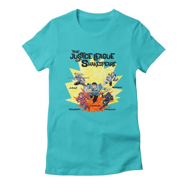 Justice League of Shakespeare in Women's Fitted T-Shirt Pacific Blue by Kill Shakespeare's Artist Shop