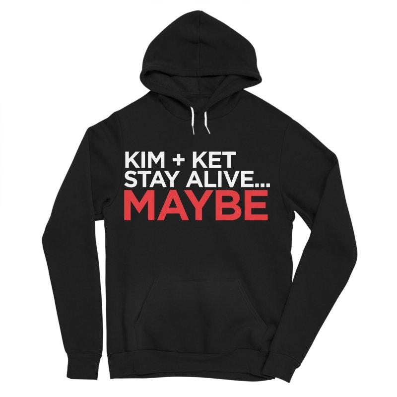 OG KKSAM Text Logo (White/Red) Men's Sponge Fleece Pullover Hoody by Kim and Ket Stay Alive... Maybe Podcast