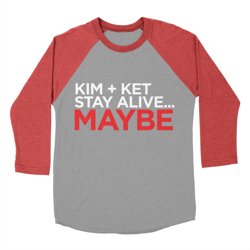 OG KKSAM Text Logo (White/Red) Women's Baseball Triblend Longsleeve T-Shirt by Kim and Ket Stay Alive... Maybe Podcast