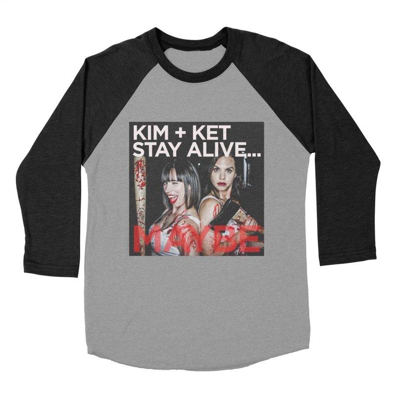 Kim and Ket Stay Alive... Maybe OG Photo Logo in Women's Baseball Triblend Longsleeve T-Shirt Heather Onyx Sleeves by Kim and Ket Stay Alive... Maybe Podcast