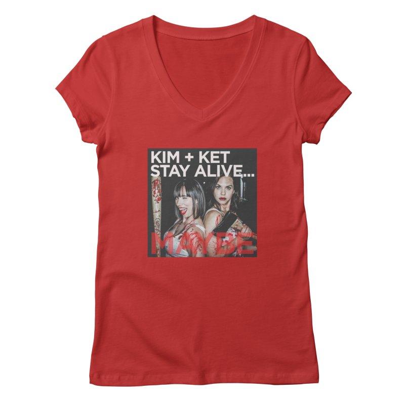 Kim and Ket Stay Alive... Maybe OG Photo Logo Women's V-Neck by Kim and Ket Stay Alive... Maybe Podcast