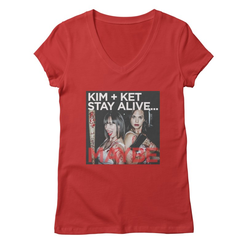 Kim and Ket Stay Alive... Maybe OG Photo Logo Women's Regular V-Neck by Kim and Ket Stay Alive... Maybe Podcast