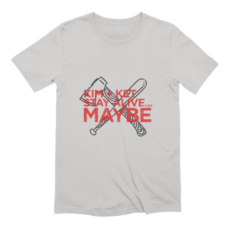 Kim and Ket Stay Alive... Maybe KKSAM Bat & Axe Stamp on White in Men's Extra Soft T-Shirt Stone by Kim and Ket Stay Alive... Maybe Podcast