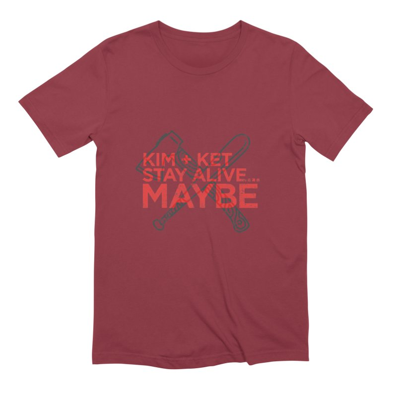 Kim and Ket Stay Alive... Maybe KKSAM Bat & Axe Stamp on White Men's Extra Soft T-Shirt by Kim and Ket Stay Alive... Maybe Podcast