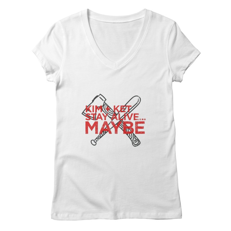 KKSAM Stamp Bat & Axe Logo (red letter) in Women's Regular V-Neck White by Kim and Ket Stay Alive... Maybe Podcast