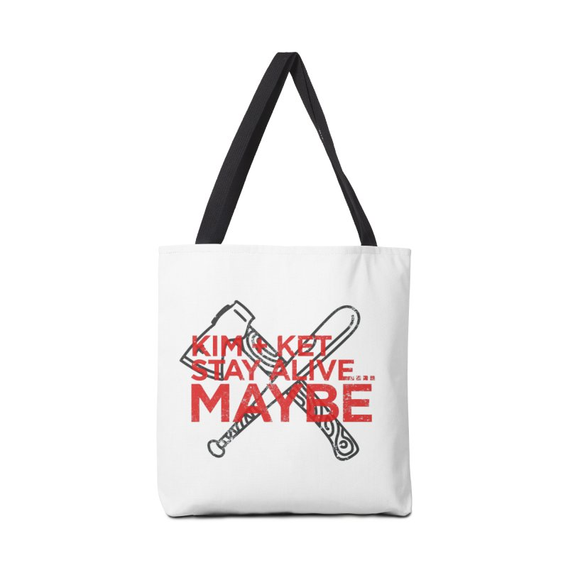 Kim and Ket Stay Alive... Maybe KKSAM Bat & Axe Stamp on White Accessories Tote Bag Bag by Kim and Ket Stay Alive... Maybe Podcast
