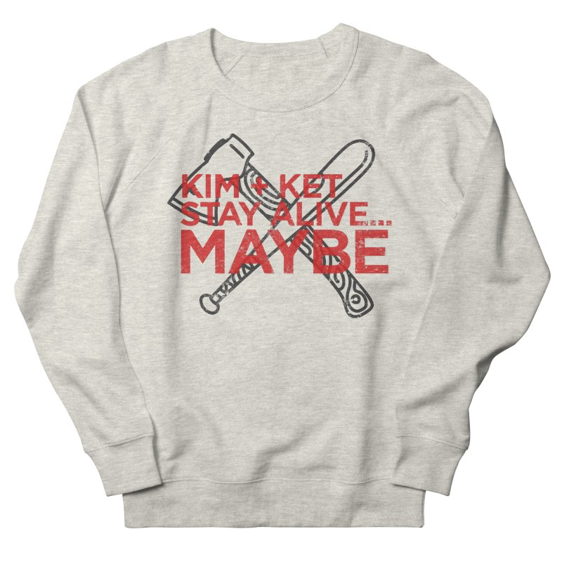 Kim and Ket Stay Alive... Maybe KKSAM Bat & Axe Stamp on White Men's Sweatshirt by Kim and Ket Stay Alive... Maybe Podcast