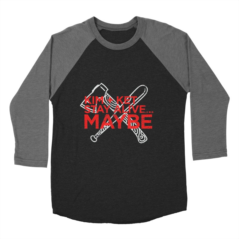 Kim and Ket Stay Alive... Maybe KKSAM Bat & Axe Stamp on Black in Women's Baseball Triblend Longsleeve T-Shirt Grey Triblend Sleeves by Kim and Ket Stay Alive... Maybe Podcast