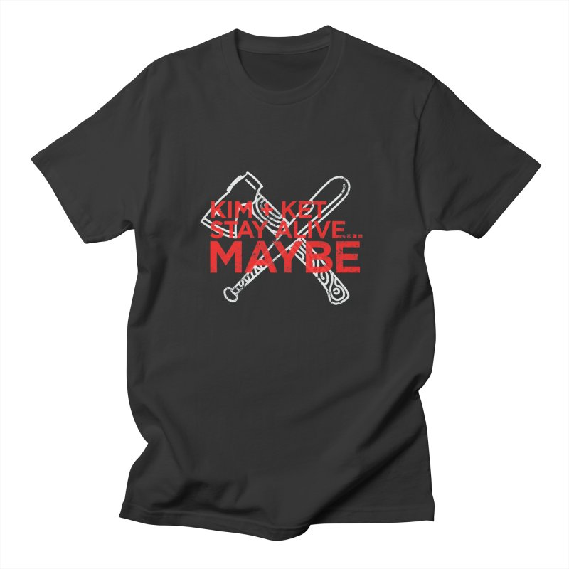 KKSAM Stamp White Bat & Axe Logo (red letter) Men's Regular T-Shirt by Kim and Ket Stay Alive... Maybe Podcast