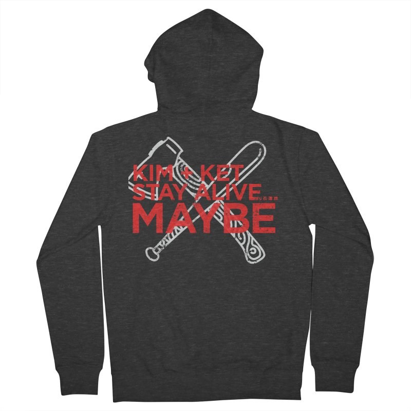 Kim and Ket Stay Alive... Maybe KKSAM Bat & Axe Stamp on Black in Men's French Terry Zip-Up Hoody Smoke by Kim and Ket Stay Alive... Maybe Podcast