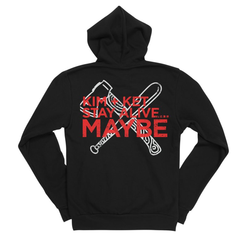 Kim and Ket Stay Alive... Maybe KKSAM Bat & Axe Stamp on Black Men's Zip-Up Hoody by Kim and Ket Stay Alive... Maybe Podcast
