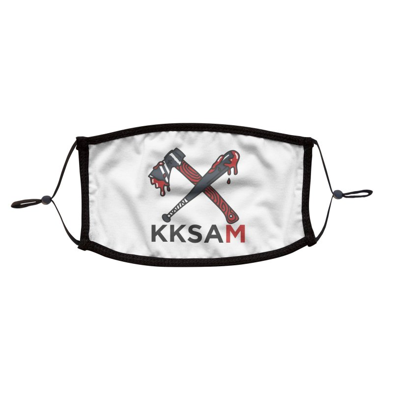 Kim and Ket Stay Alive... Maybe KKSAM Bat & Axe on White Accessories Face Mask by Kim and Ket Stay Alive... Maybe Podcast