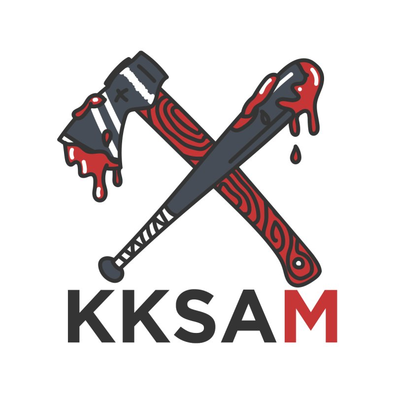 Kim and Ket Stay Alive... Maybe KKSAM Bat & Axe on White Accessories Sticker by Kim and Ket Stay Alive... Maybe Podcast