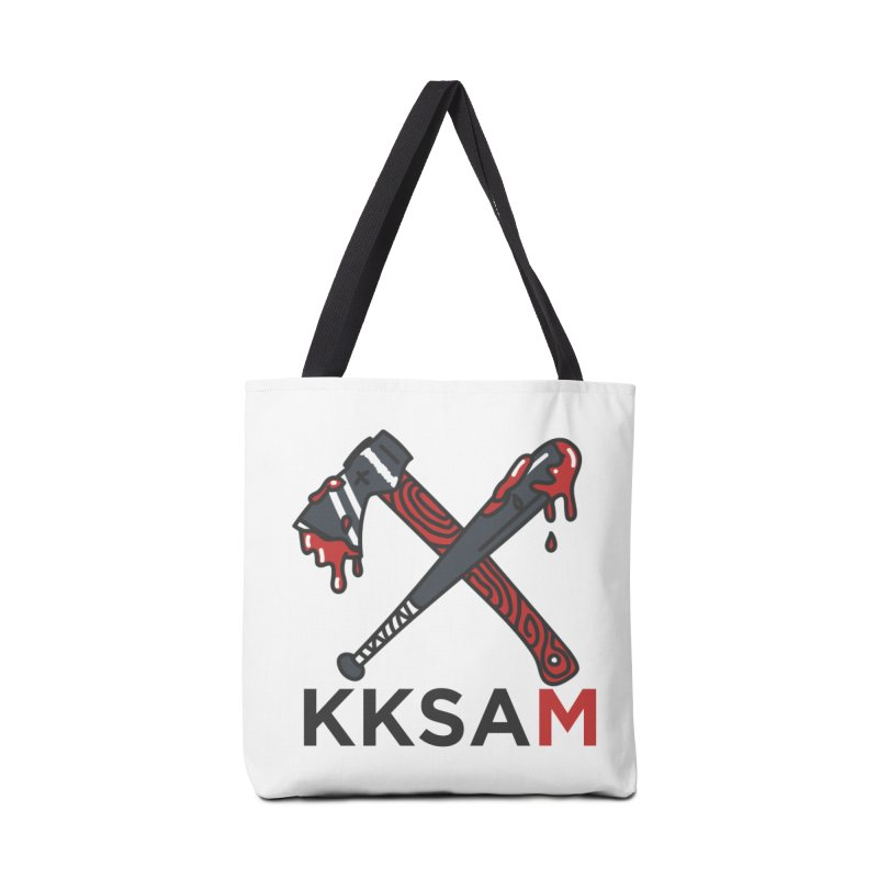 Kim and Ket Stay Alive... Maybe KKSAM Bat & Axe on White Accessories Tote Bag Bag by Kim and Ket Stay Alive... Maybe Podcast