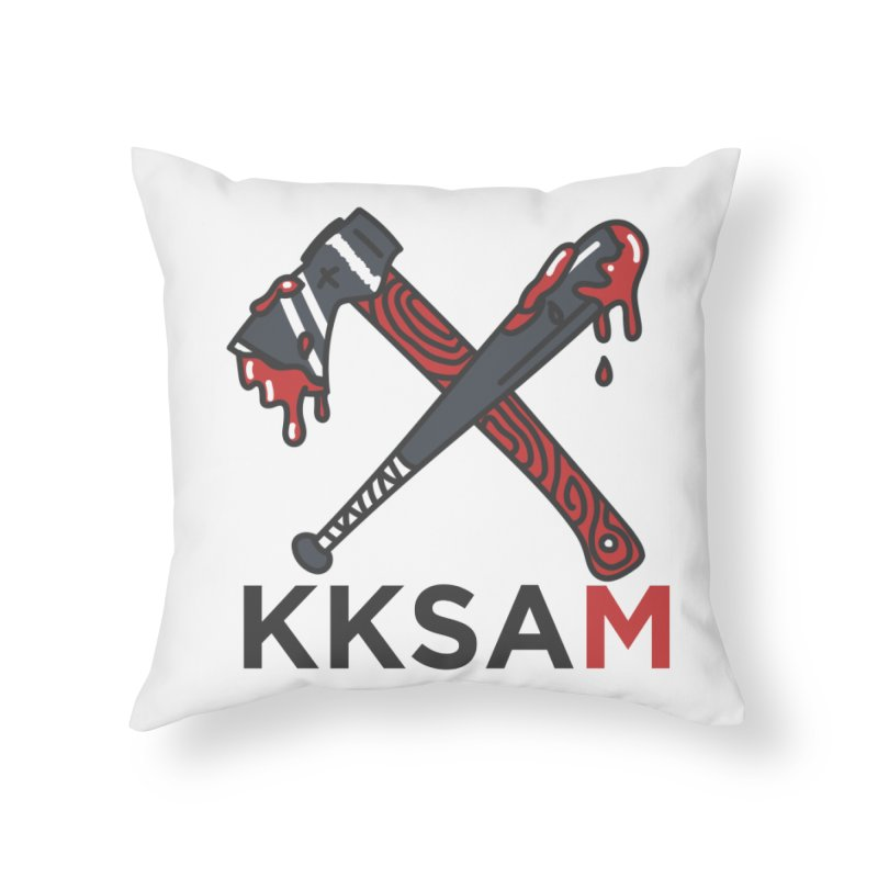 Bat and Axe Logo with KKSAM Home Throw Pillow by Kim and Ket Stay Alive... Maybe Podcast