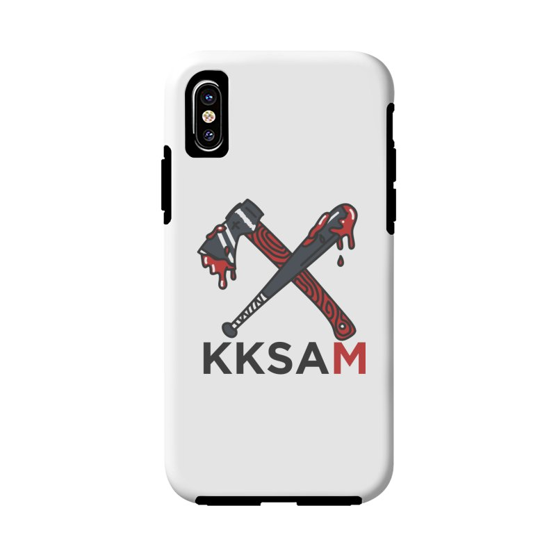 Kim and Ket Stay Alive... Maybe KKSAM Bat & Axe on White in iPhone X / XS Phone Case Tough by Kim and Ket Stay Alive... Maybe Podcast