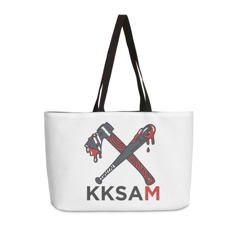 Kim and Ket Stay Alive... Maybe KKSAM Bat & Axe on White Accessories Weekender Bag Bag by Kim and Ket Stay Alive... Maybe Podcast