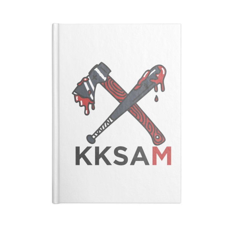 Kim and Ket Stay Alive... Maybe KKSAM Bat & Axe on White Accessories Lined Journal Notebook by Kim and Ket Stay Alive... Maybe Podcast