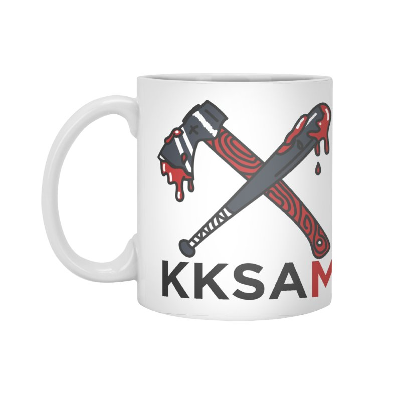 Kim and Ket Stay Alive... Maybe KKSAM Bat & Axe on White Accessories Standard Mug by Kim and Ket Stay Alive... Maybe Podcast
