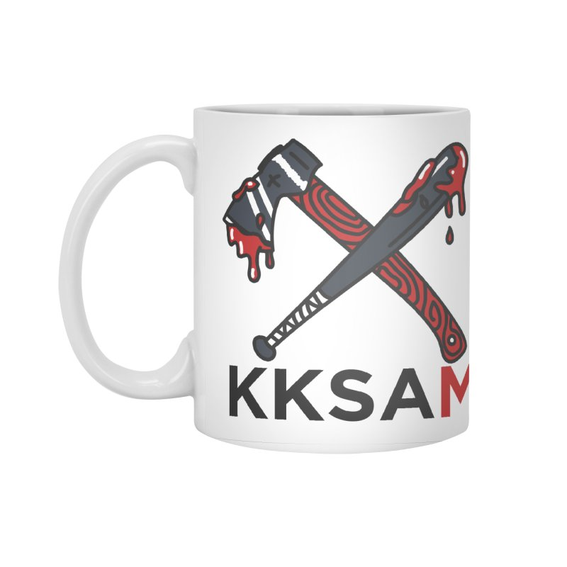 Kim and Ket Stay Alive... Maybe KKSAM Bat & Axe on White Accessories Mug by Kim and Ket Stay Alive... Maybe Podcast