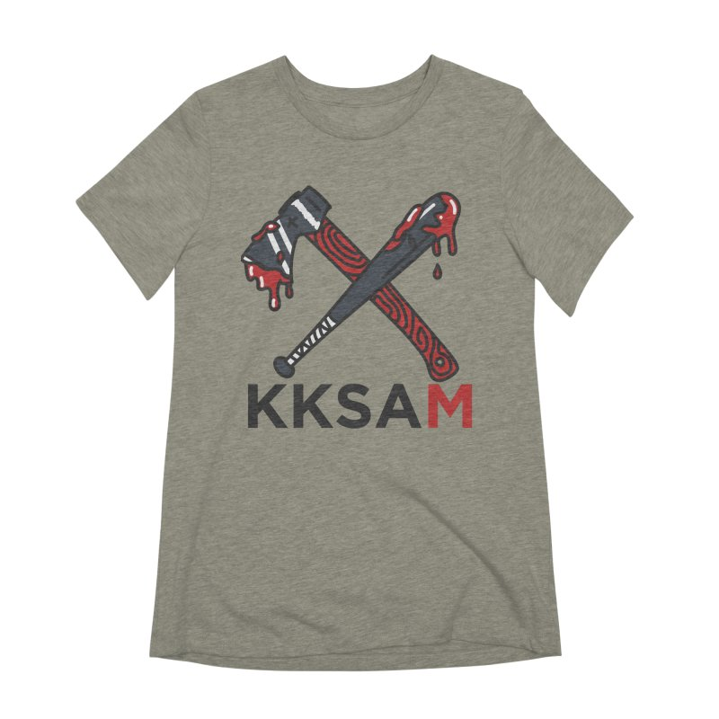 Bat and Axe Logo with KKSAM Women's Extra Soft T-Shirt by Kim and Ket Stay Alive... Maybe Podcast