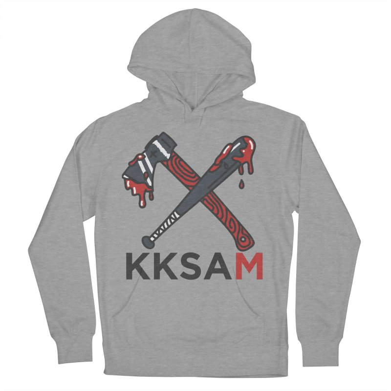 Bat and Axe Logo with KKSAM in Women's French Terry Pullover Hoody Heather Graphite by Kim and Ket Stay Alive... Maybe Podcast