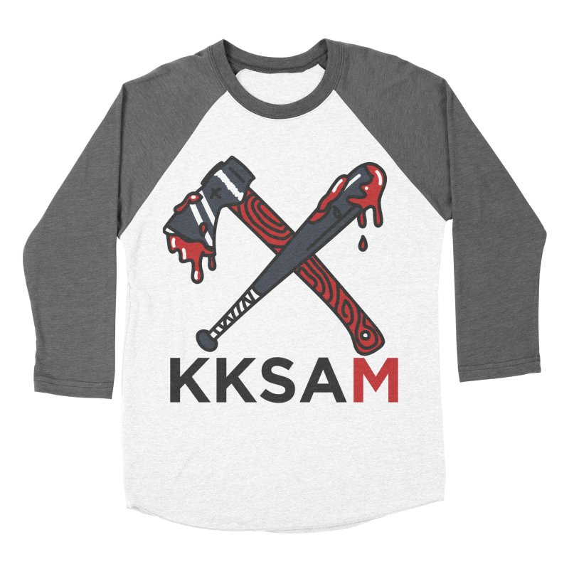 Bat and Axe Logo with KKSAM Women's Baseball Triblend Longsleeve T-Shirt by Kim and Ket Stay Alive... Maybe Podcast