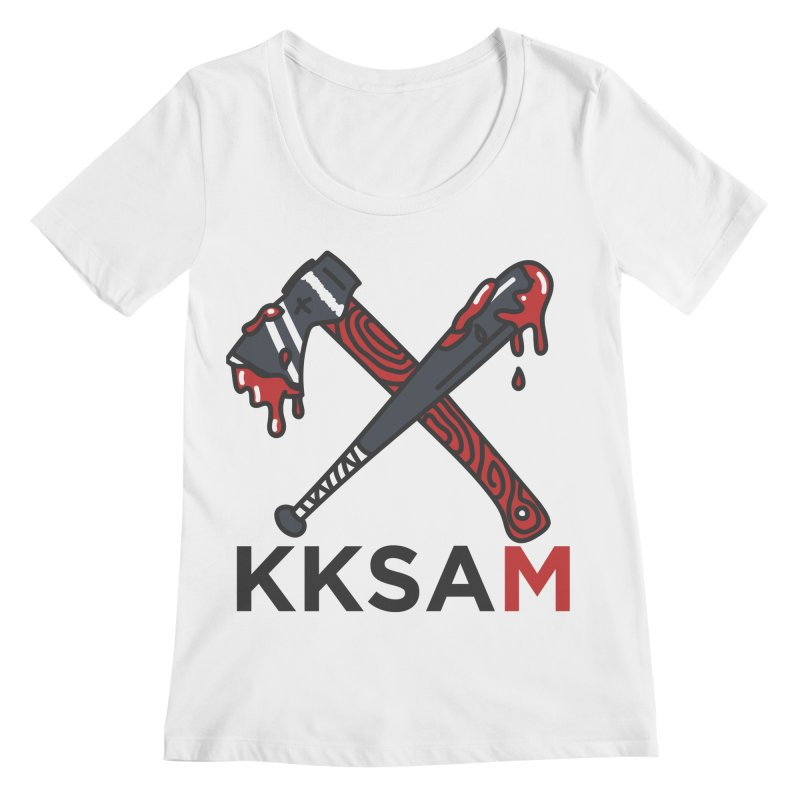 Bat and Axe Logo with KKSAM Women's Regular Scoop Neck by Kim and Ket Stay Alive... Maybe Podcast