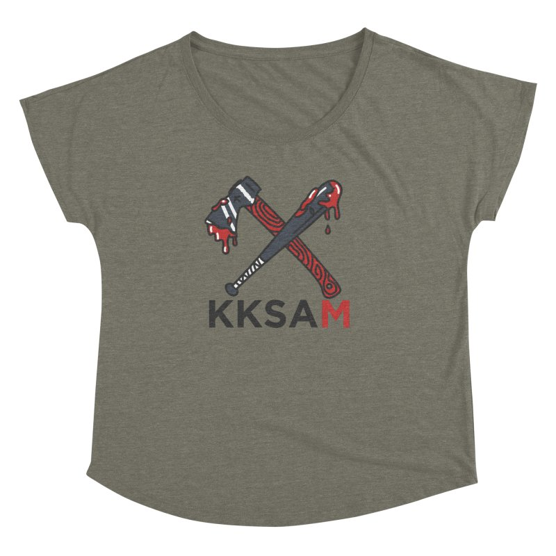 Bat and Axe Logo with KKSAM Women's Dolman Scoop Neck by Kim and Ket Stay Alive... Maybe Podcast