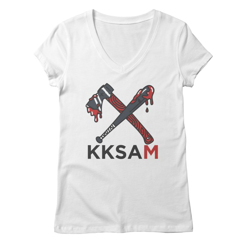 Bat and Axe Logo with KKSAM Women's Regular V-Neck by Kim and Ket Stay Alive... Maybe Podcast