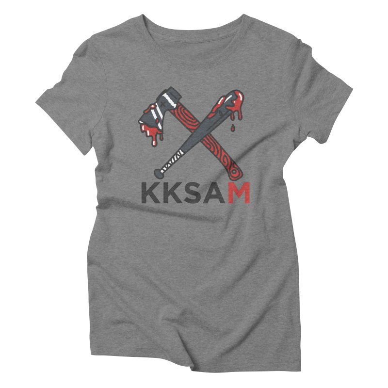 Bat and Axe Logo with KKSAM Women's Triblend T-Shirt by Kim and Ket Stay Alive... Maybe Podcast
