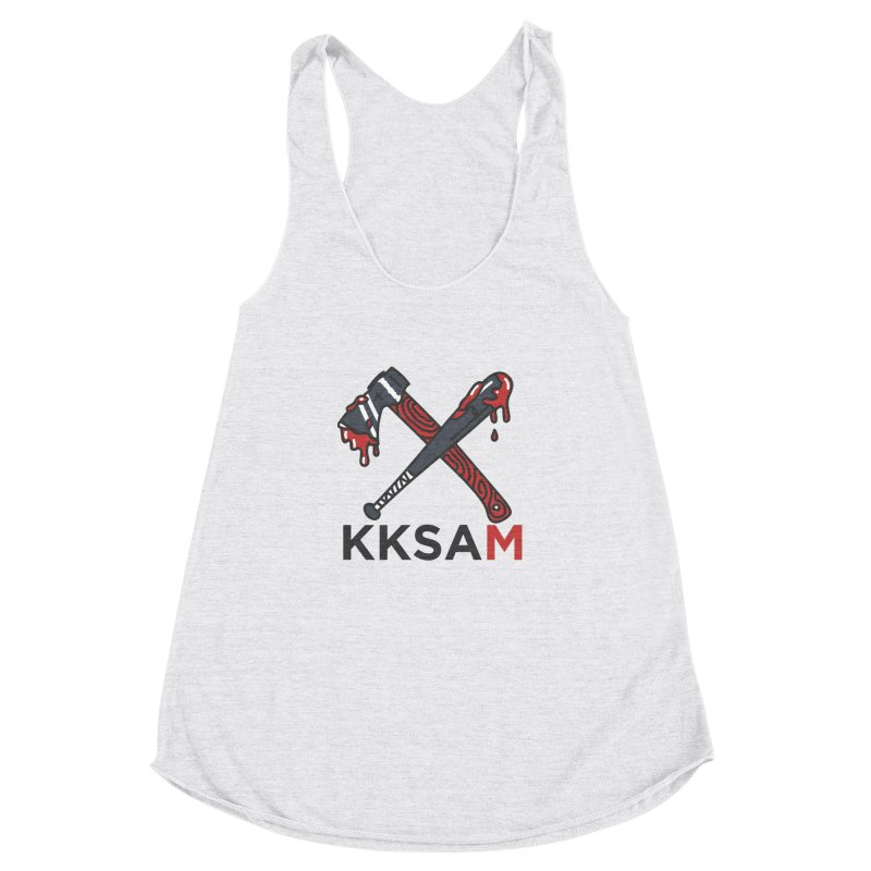 Bat and Axe Logo with KKSAM Women's Racerback Triblend Tank by Kim and Ket Stay Alive... Maybe Podcast