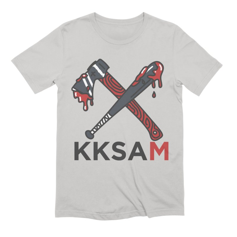 Kim and Ket Stay Alive... Maybe KKSAM Bat & Axe on White in Men's Extra Soft T-Shirt Stone by Kim and Ket Stay Alive... Maybe Podcast