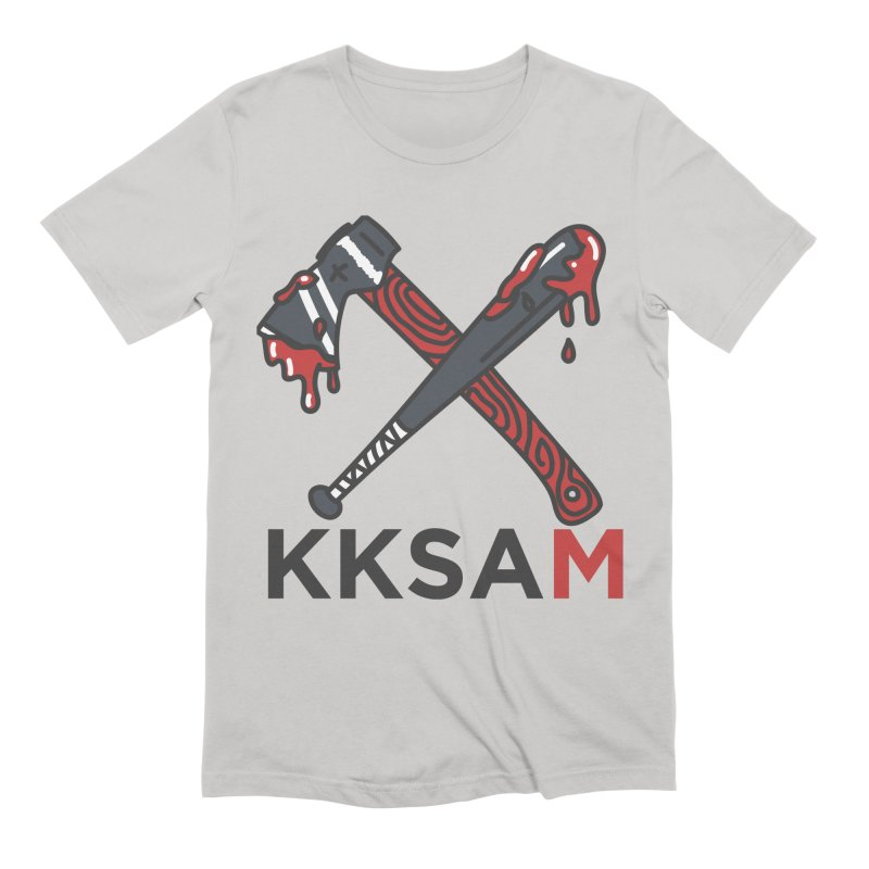 Kim and Ket Stay Alive... Maybe KKSAM Bat & Axe on White Men's Extra Soft T-Shirt by Kim and Ket Stay Alive... Maybe Podcast