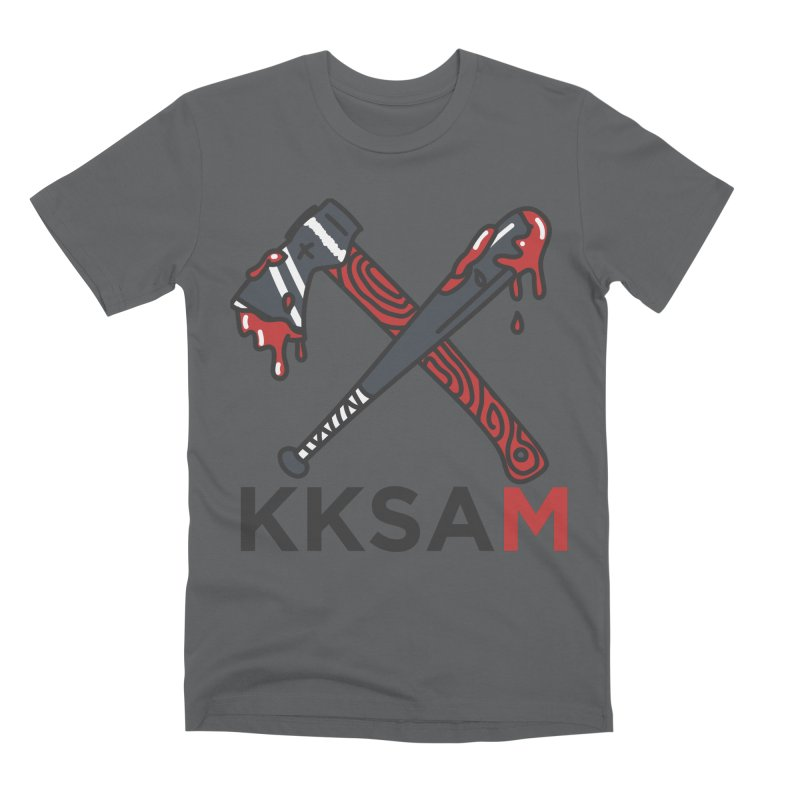Kim and Ket Stay Alive... Maybe KKSAM Bat & Axe on White Men's Premium T-Shirt by Kim and Ket Stay Alive... Maybe Podcast