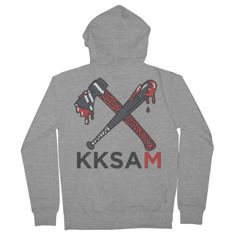 Kim and Ket Stay Alive... Maybe KKSAM Bat & Axe on White in Women's French Terry Zip-Up Hoody Heather Graphite by Kim and Ket Stay Alive... Maybe Podcast