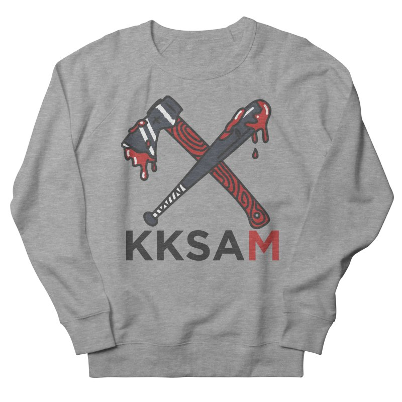 Kim and Ket Stay Alive... Maybe KKSAM Bat & Axe on White in Women's French Terry Sweatshirt Heather Graphite by Kim and Ket Stay Alive... Maybe Podcast