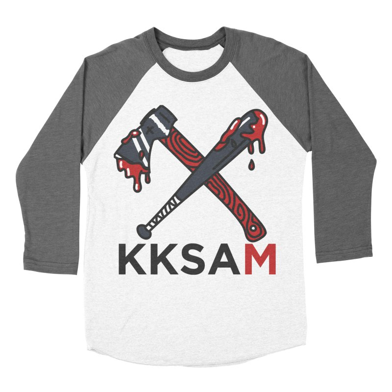 Kim and Ket Stay Alive... Maybe KKSAM Bat & Axe on White in Women's Baseball Triblend Longsleeve T-Shirt Tri-Grey Sleeves by Kim and Ket Stay Alive... Maybe Podcast